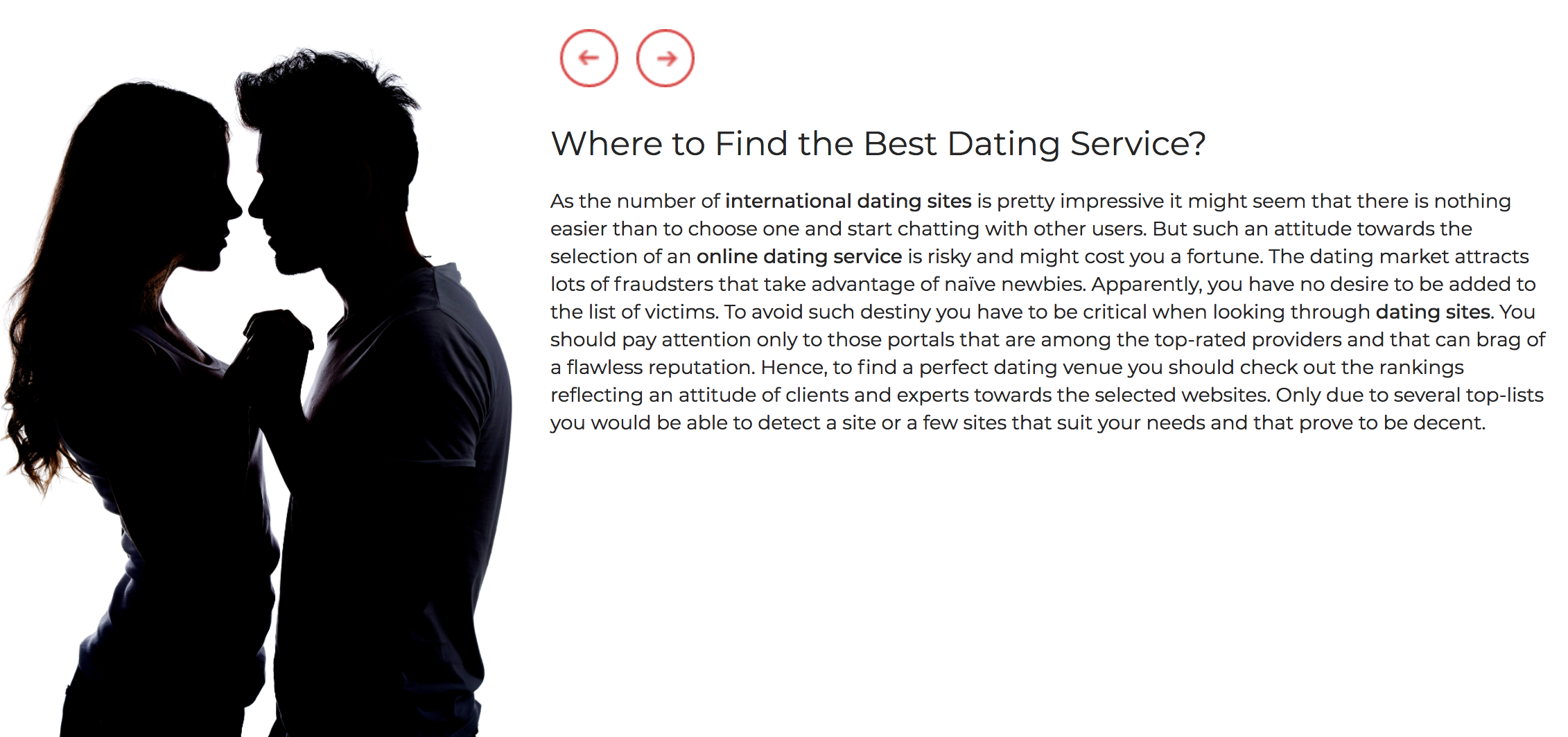 Online dating matchmaking services